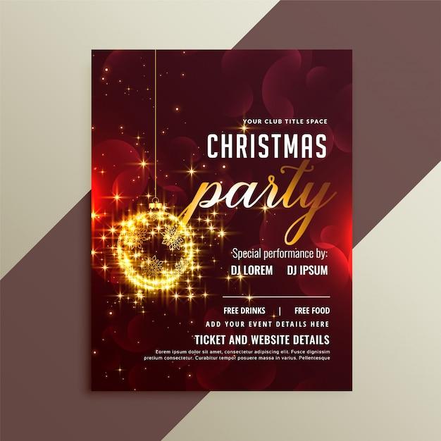 ラブリーゴールデンスパークル光沢のあるクリスマスパーティーのチラシのテンプレート 無料ベクター