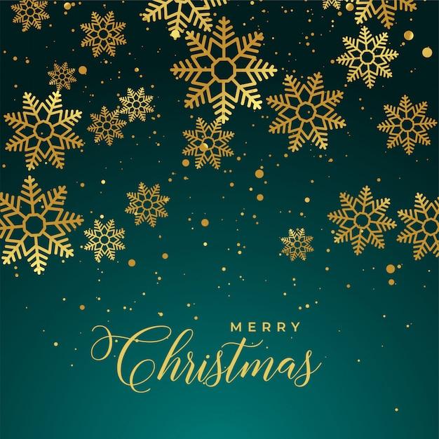 ゴールデンスノーフレークとメリークリスマスの背景 無料ベクター