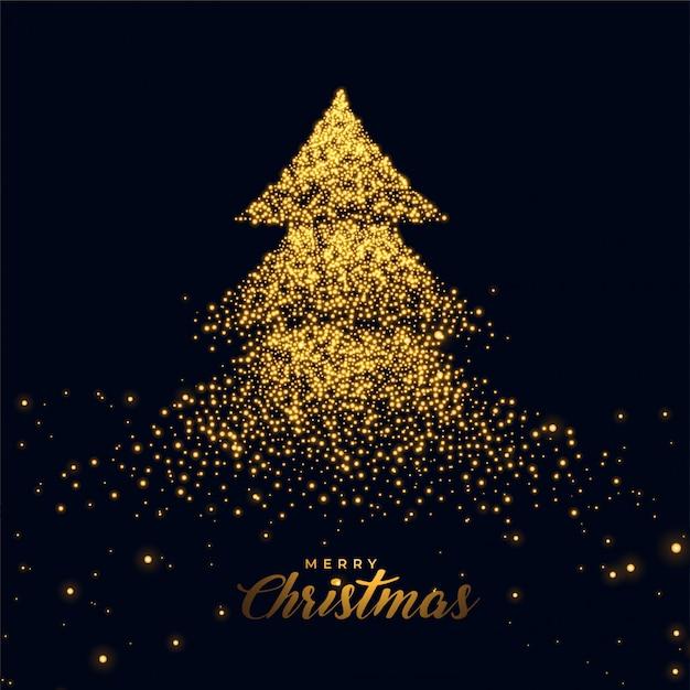 Рождественская елка с золотыми блестками Бесплатные векторы