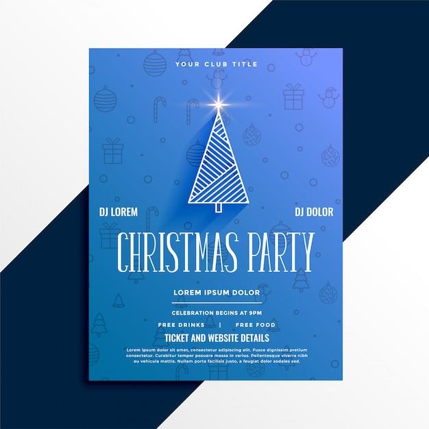 Минимальный дизайн флаера празднования рождественской вечеринки Бесплатные векторы