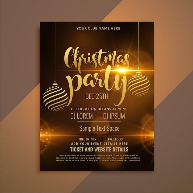 Красивая блестящая рождественская вечеринка флаер шаблон Бесплатные векторы