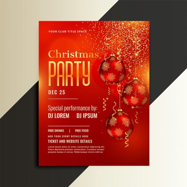 光沢のある赤いテーマのクリスマスパーティーポスターチラシ 無料ベクター