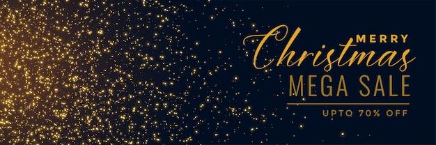 Новогодняя распродажа золотой блеск баннер Бесплатные векторы