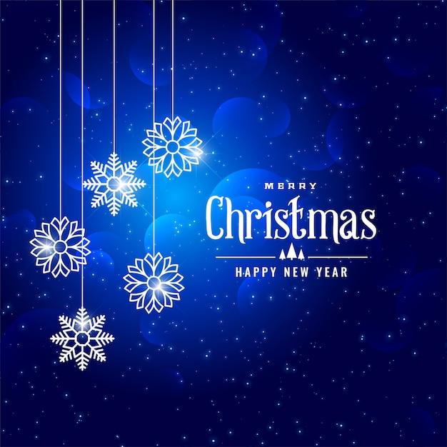 素敵な青いクリスマスの冬のスタイルの雪片の背景 無料ベクター