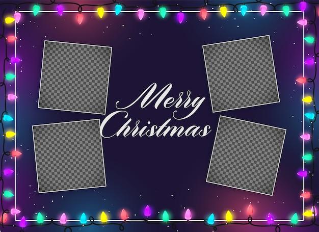 イメージ空間を持つメリークリスマスイルミネーション 無料ベクター