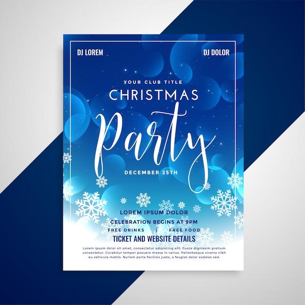 素敵な青い光沢のあるクリスマスのフライヤーデザインと雪片 無料ベクター