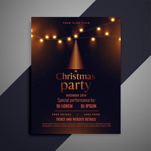 光るライト付きのダーククリスマスチラシ 無料ベクター