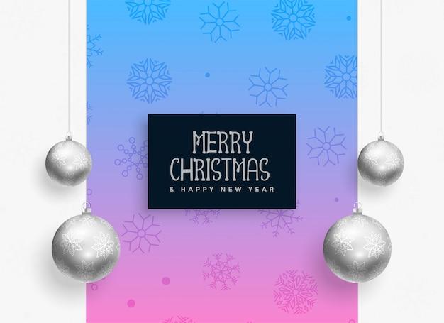 Рождественский фестиваль фон с серебряными шариками Бесплатные векторы