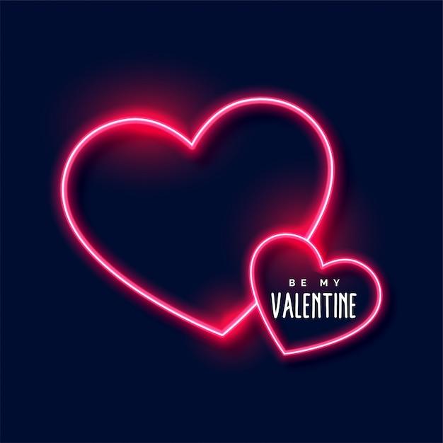 Неоновые сердца фон на день святого валентина Бесплатные векторы