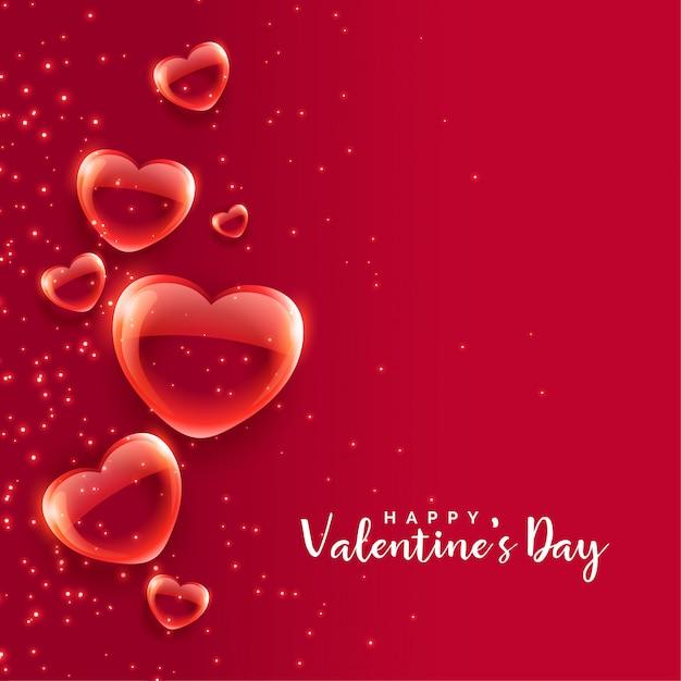 赤い泡ハートフローティングバレンタインデーの背景 無料ベクター