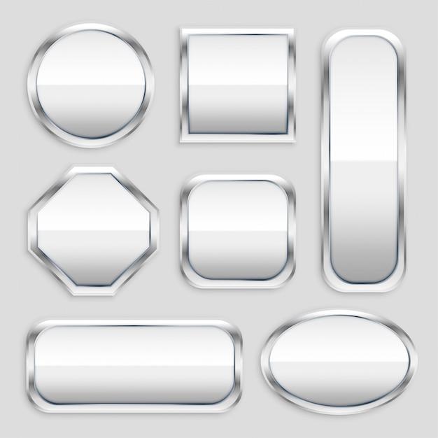 さまざまな形の光沢のある金属ボタンのセット 無料ベクター
