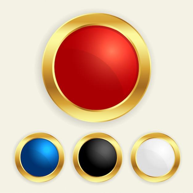 豪華なゴールデンラウンドボタンは異なる色で設定 無料ベクター