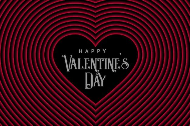 バレンタインデーのためのレトロなスタイルラインハート 無料ベクター