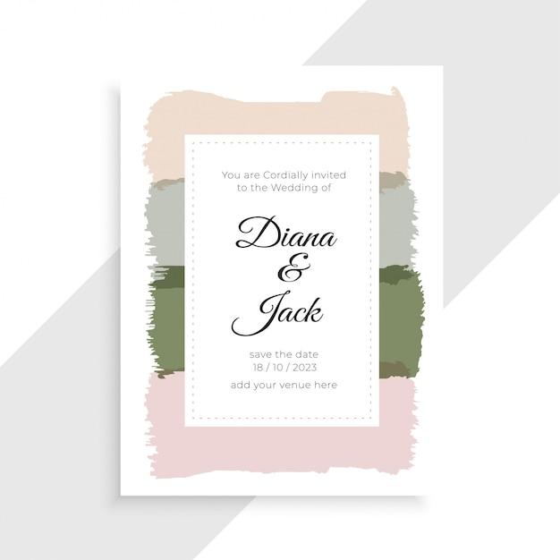 エレガントな結婚式の招待状カードデザイン 無料ベクター