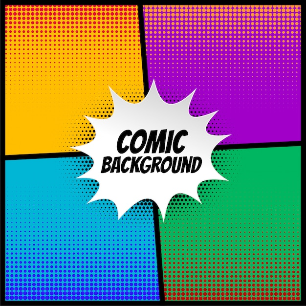 Комический полутоновый фон в разные цвета Бесплатные векторы