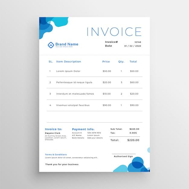 きれいなブルーの抽象的なビジネス請求書テンプレート 無料ベクター