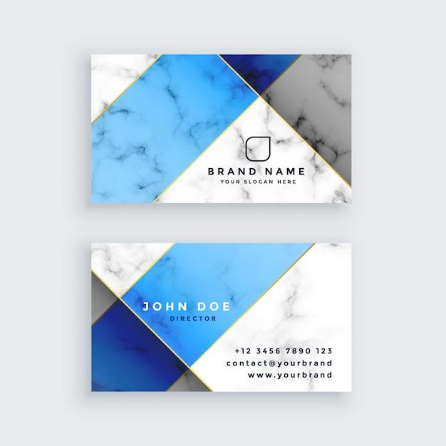 モダンなブルーの大理石の質感の名刺デザイン 無料ベクター