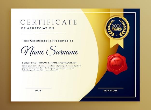 Элегантный сертификат признательности шаблона дизайна Бесплатные векторы