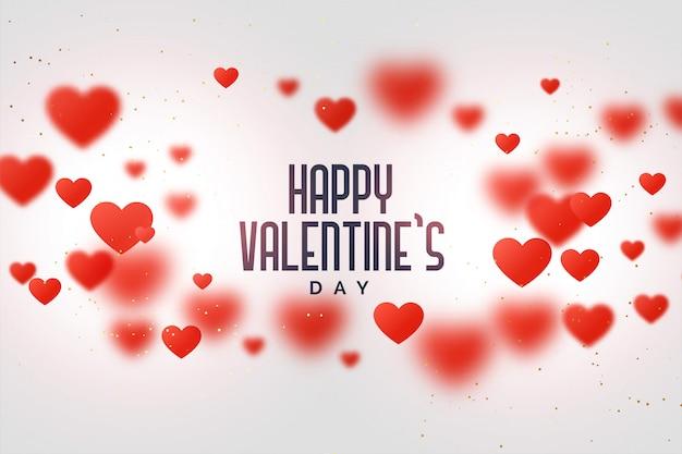 幸せなバレンタインデー愛の背景に浮かぶ心 無料ベクター