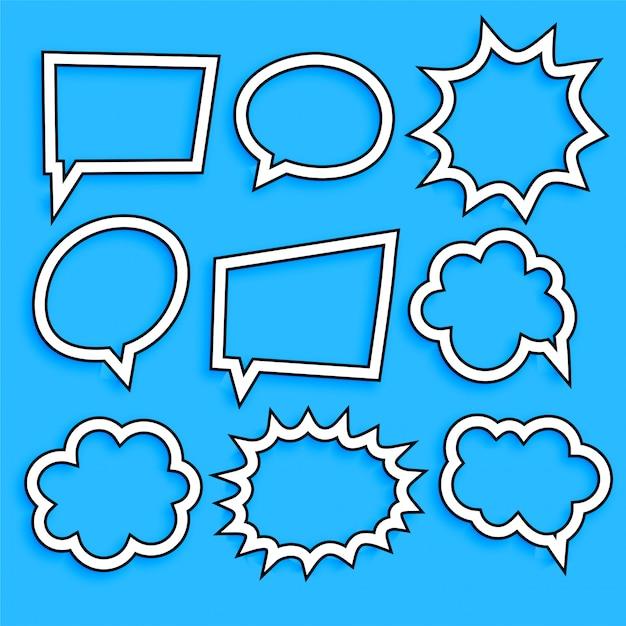 Комический чат пузыри и выражение в стиле линии Бесплатные векторы