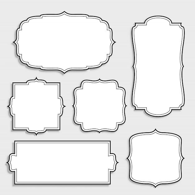 Набор марочных пустых белых этикеток Бесплатные векторы