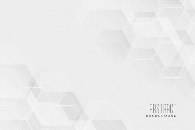 抽象的な六角形の白い背景デザイン 無料ベクター
