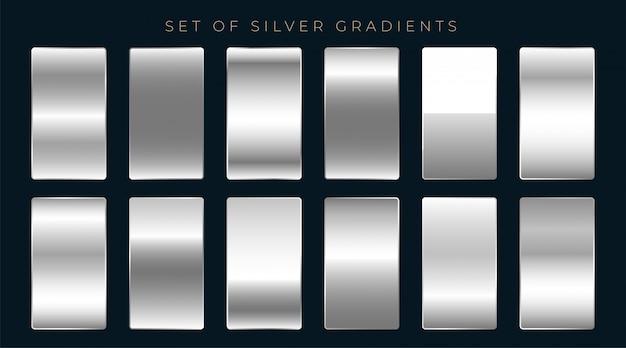 銀またはプラチナグラデーションのセット 無料ベクター