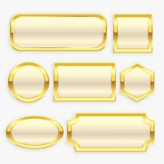 光沢のあるゴールデンビンテージフレームまたはラベルコレクション 無料ベクター