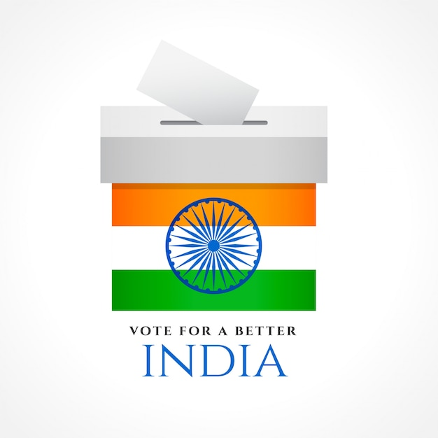 フラグとインド投票コンセプトデザイン 無料ベクター