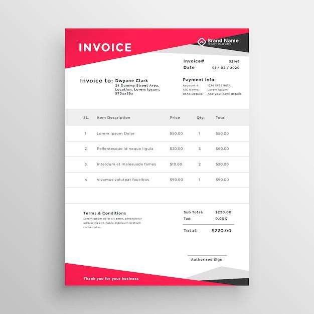 エレガントな赤い請求書テンプレートデザイン 無料ベクター