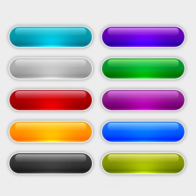 光沢のあるウェブボタンは異なる色で設定 無料ベクター