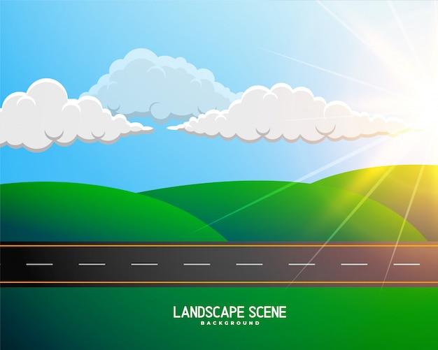 道路の背景と緑の漫画風景 無料ベクター