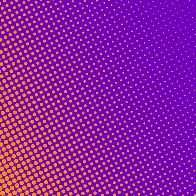 オレンジ色のハーフトーンパターンと紫色の背景 無料ベクター