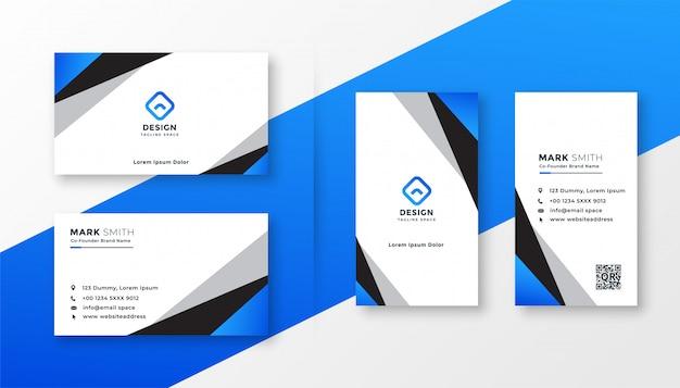 Синий геометрический дизайн профессиональной визитки Бесплатные векторы