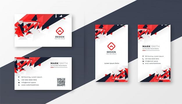 Абстрактный красный и черный дизайн визитной карточки Бесплатные векторы