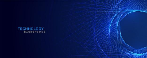 抽象的な青い線技術の背景 無料ベクター