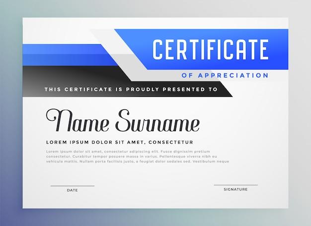 Стильная голубая копия сертификата благодарности Бесплатные векторы