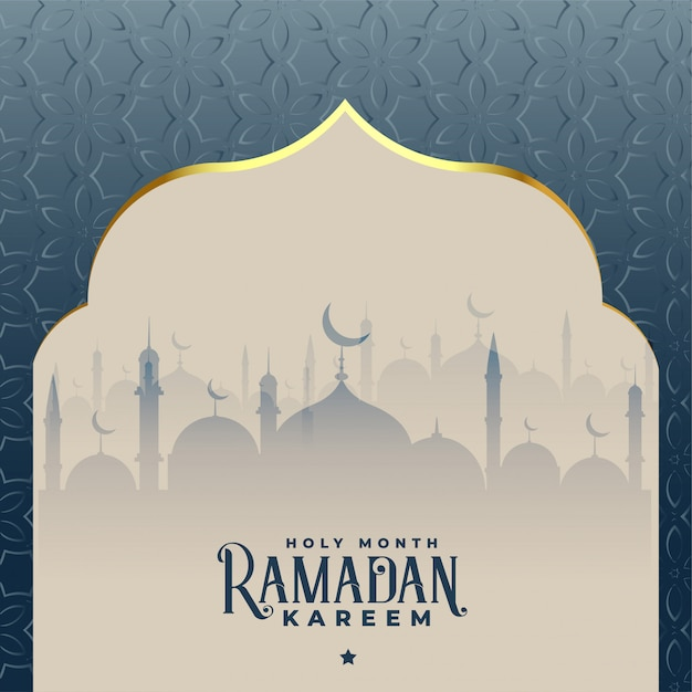 Рамадан карим красивый фон исламская мечеть Бесплатные векторы