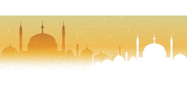 美しいモスクアラビア背景デザイン 無料ベクター