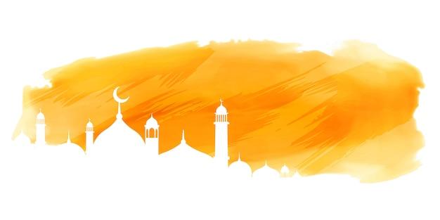 モスクのデザインと黄色の水彩イスラムバナー 無料ベクター