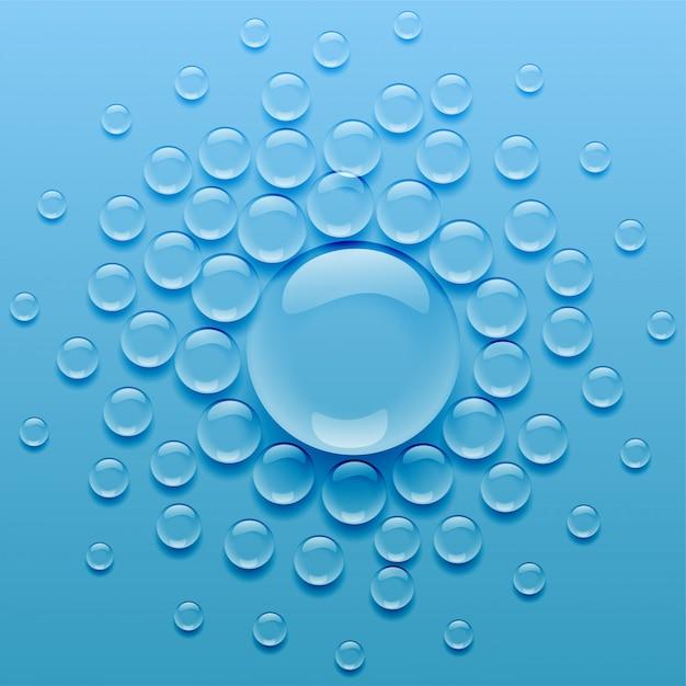 青い背景上の水滴 無料ベクター