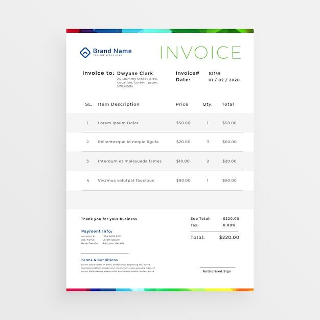 Минимальный красочный шаблон бизнес-счета Бесплатные векторы