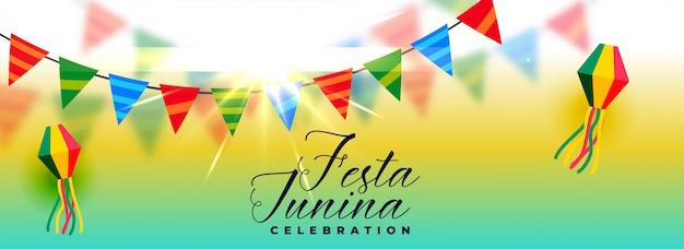 美しいフェスタジュニーナお祝いバナーデザイン 無料ベクター