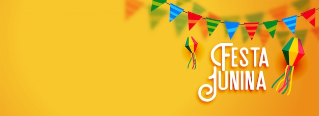 フェスタ・ジュニーナラテンアメリカの休日バナー 無料ベクター