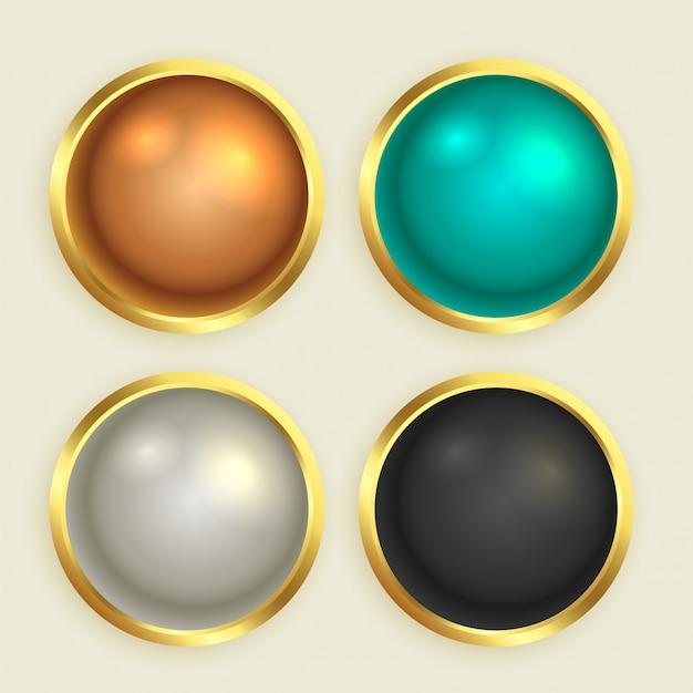 プレミアムゴールデン光沢のあるボタンセット 無料ベクター