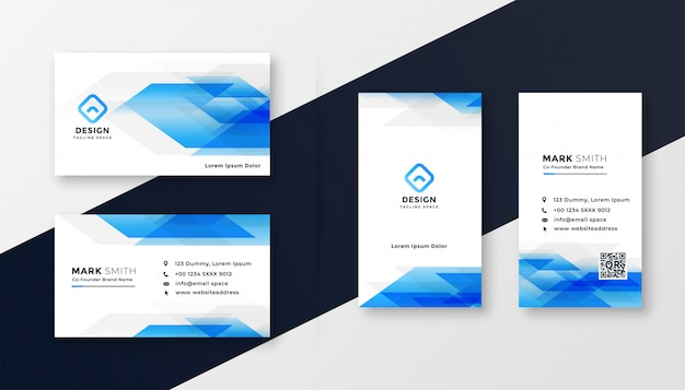 Креативный синий абстрактный дизайн визитной карточки Бесплатные векторы