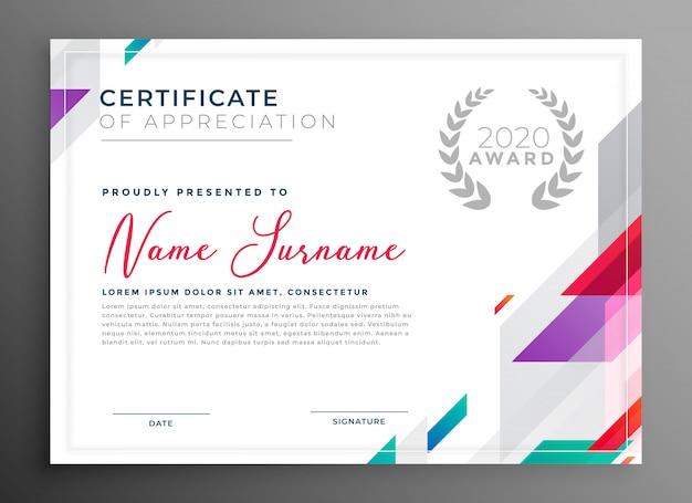 Современный сертификат награду шаблон дизайна векторные иллюстрации Бесплатные векторы
