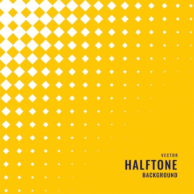 白いハーフトーンパターンと黄色の背景 無料ベクター