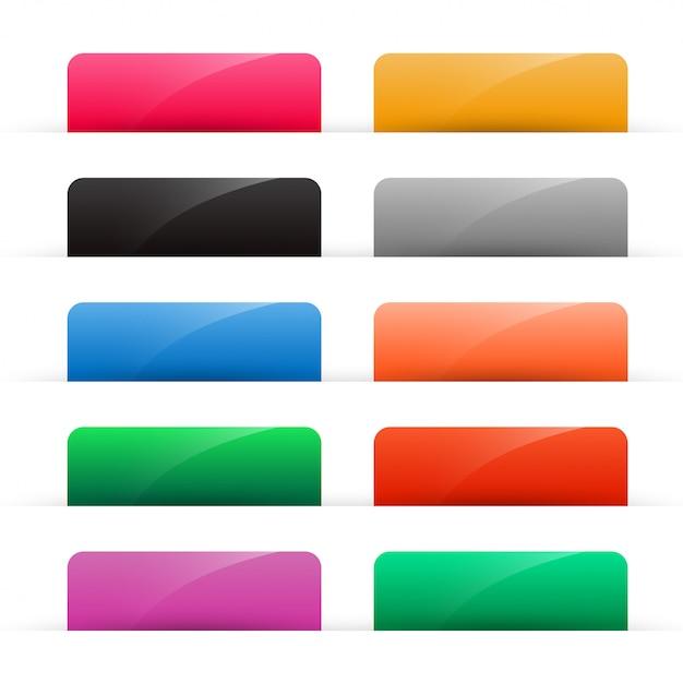 Набор красочных блестящих веб-кнопок Бесплатные векторы
