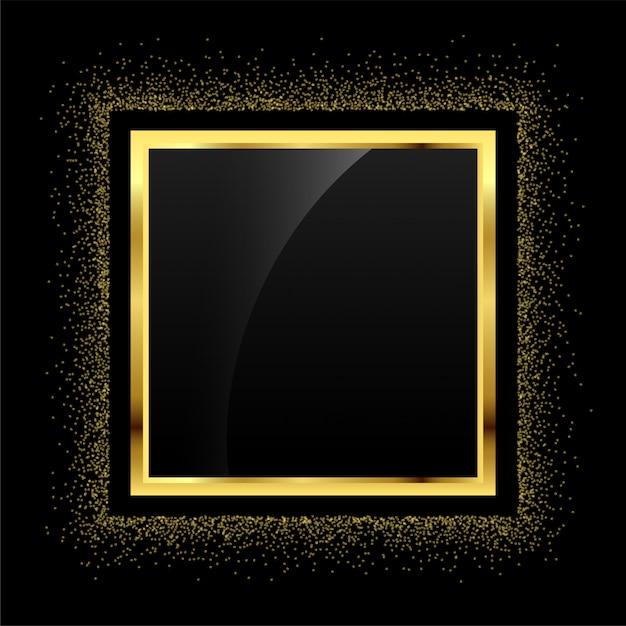 黄金の輝きの空のフレームの背景 無料ベクター